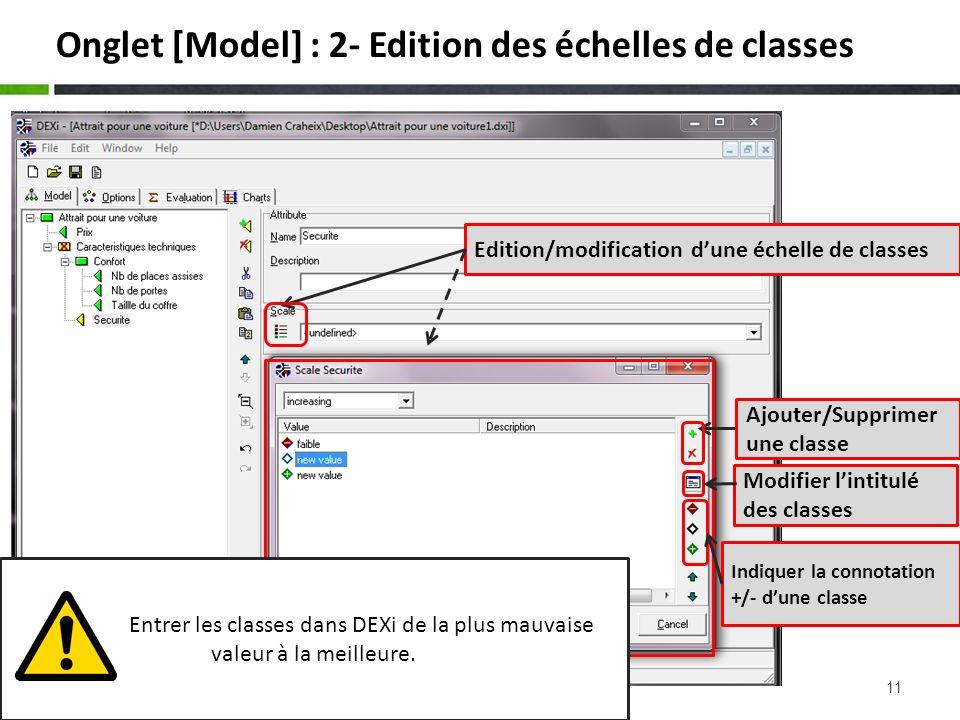 Onglet [Model] : 2- Edition des échelles de classes